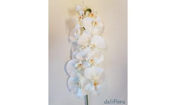 Dirbtinė orchidėja. Spalva balta su gelsvu viduriuku