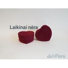 Veliūrinė gėlių dėžutė (širdelė). Spalva bordo