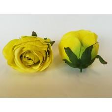 Dirbtinių rožių žiedai. Spalva gelsvai žalia