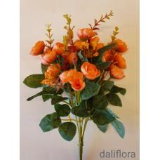 Dirbtinių gėlių puokštė. Spalva oranžinė