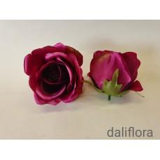 Dirbtinių rožių žiedai. Spalva violetinė su tamsiu viduriuku