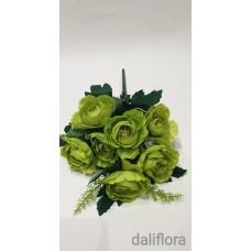 Dirbtinių gėlių puokštė. Spalva žalia