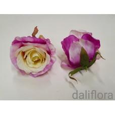 Dirbtinių rožių žiedai. Spalva balta su violetine