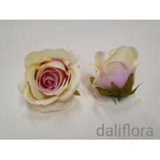 Dirbtiniai rožių žiedai. Spalva pastelinė su violetiniu viduriuku