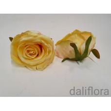 Dirbtinių rožių žiedai. Spalva geltona