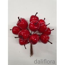 Dirbtinė obuoliukų šakelė. Spalva raudona