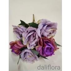 Dirbtinių gėlių puokštė. Spalva violetinė su pilka