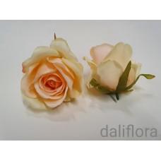 Dirbtiniai rožių žiedai. Spalva persikinė