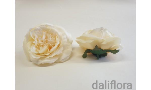 Dirbtinių rožių žiedai. Spalva kreminė