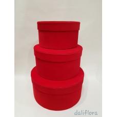 Veliūrinių dėžučių komplektas. Spalva raudona